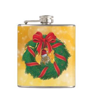 Cute Chipmunk Christmas Wreath Hip Flask
