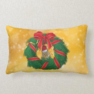 Cute Chipmunk Christmas Wreath Lumbar Pillow