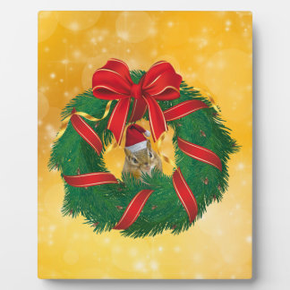Cute Chipmunk Christmas Wreath Plaque