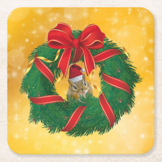 Cute Chipmunk Christmas Wreath Square Paper Coaster