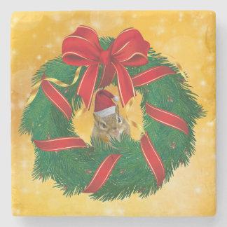 Cute Chipmunk Christmas Wreath Stone Coaster