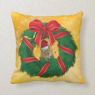 Cute Chipmunk Christmas Wreath Throw Pillow