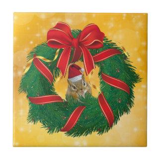 Cute Chipmunk Christmas Wreath Tile