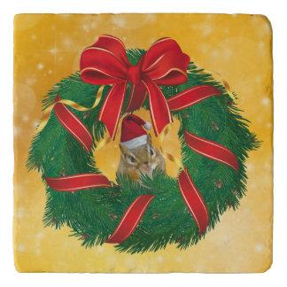 Cute Chipmunk Christmas Wreath Trivet