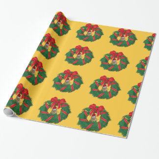 Cute Chipmunk Christmas Wreath Wrapping Paper