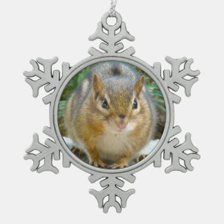 Cute Chipmunk Has His Eye On You Snowflake Pewter Christmas Ornament
