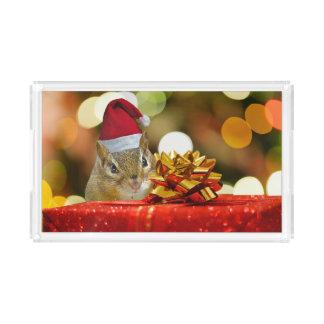 Cute Chipmunk Merry Christmas Acrylic Tray