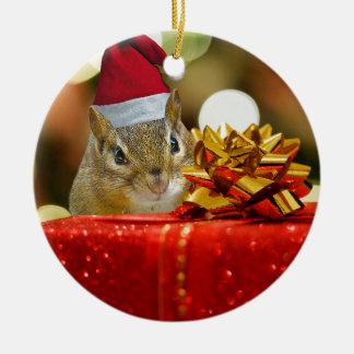 Cute Chipmunk Merry Christmas Ceramic Ornament