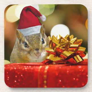 Cute Chipmunk Merry Christmas Coaster