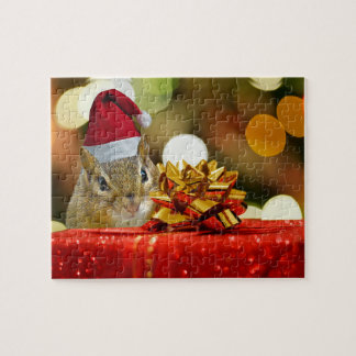 Cute Chipmunk Merry Christmas Jigsaw Puzzle