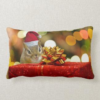 Cute Chipmunk Merry Christmas Lumbar Pillow