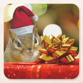 Cute Chipmunk Merry Christmas Square Paper Coaster