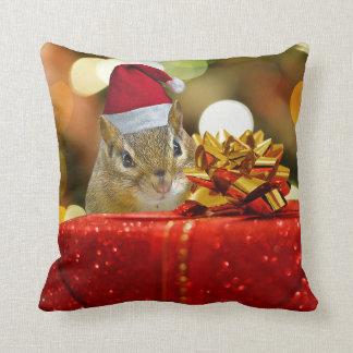 Cute Chipmunk Merry Christmas Throw Pillow