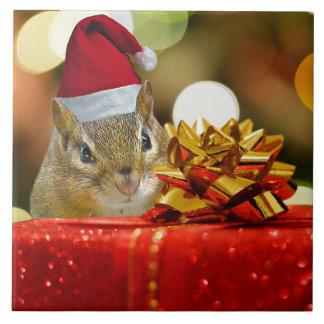 Cute Chipmunk Merry Christmas Tile