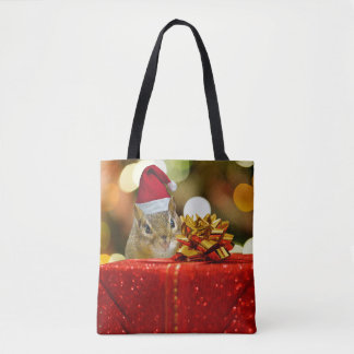 Cute Chipmunk Merry Christmas Tote Bag