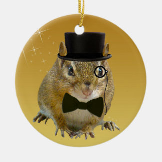 Cute Chipmunk New Year's Eve Party Ceramic Ornament