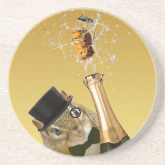 Cute Chipmunk New Year's Eve Party Coaster