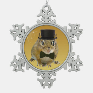 Cute Chipmunk New Year's Eve Party Snowflake Pewter Christmas Ornament