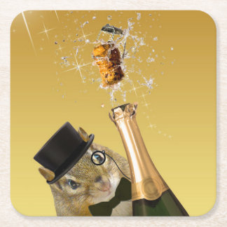 Cute Chipmunk New Year's Eve Party Square Paper Coaster