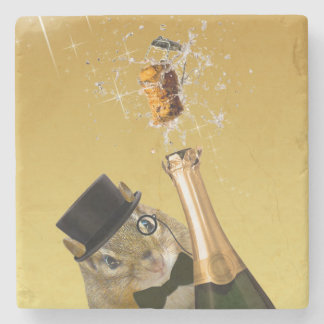 Cute Chipmunk New Year's Eve Party Stone Coaster