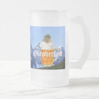 Cute Chipmunk Oktoberfest Mountains Frosted Glass Beer Mug