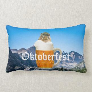 Cute Chipmunk Oktoberfest Mountains Lumbar Pillow
