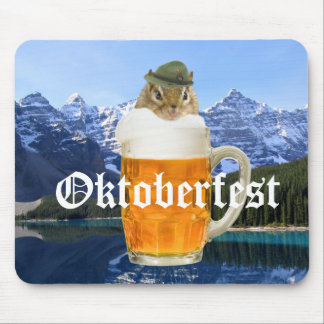 Cute Chipmunk Oktoberfest Mountains Mouse Pad