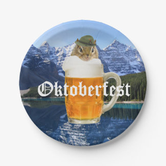 Cute Chipmunk Oktoberfest Mountains Paper Plate