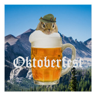 Cute Chipmunk Oktoberfest Mountains Poster