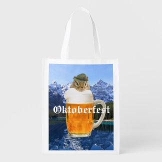 Cute Chipmunk Oktoberfest Mountains Reusable Grocery Bag