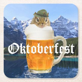 Cute Chipmunk Oktoberfest Mountains Square Paper Coaster