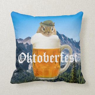 Cute Chipmunk Oktoberfest Mountains Throw Pillow