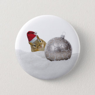 Cute Chipmunk Silver and Snow Christmas Holiday 2 Inch Round Button
