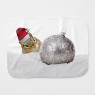 Cute Chipmunk Silver and Snow Christmas Holiday Burp Cloth