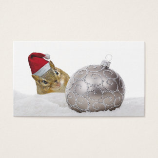 Cute Chipmunk Silver and Snow Christmas Holiday Business Card