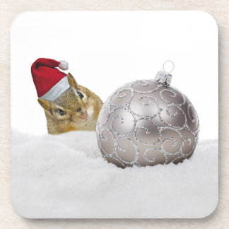 Cute Chipmunk Silver and Snow Christmas Holiday Coaster