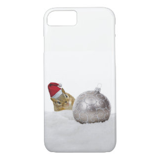 Cute Chipmunk Silver and Snow Christmas Holiday iPhone 8/7 Case