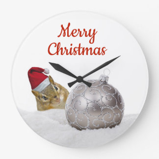 Cute Chipmunk Silver and Snow Christmas Holiday Large Clock
