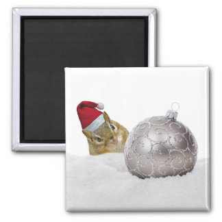 Cute Chipmunk Silver and Snow Christmas Holiday Magnet