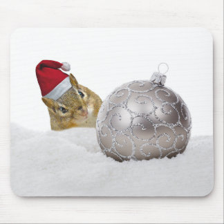 Cute Chipmunk Silver and Snow Christmas Holiday Mouse Pad