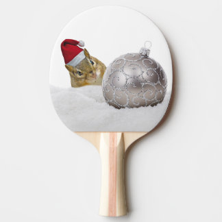 Cute Chipmunk Silver and Snow Christmas Holiday Ping Pong Paddle