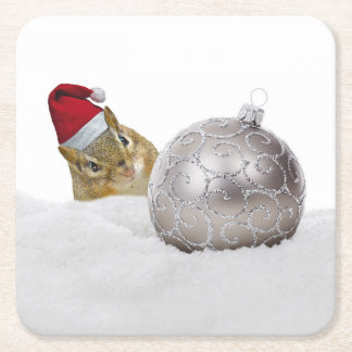 Cute Chipmunk Silver and Snow Christmas Holiday Square Paper Coaster