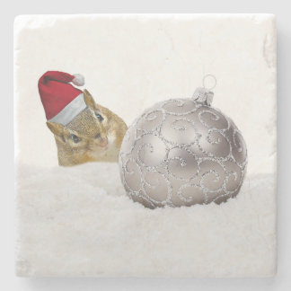 Cute Chipmunk Silver and Snow Christmas Holiday Stone Coaster