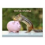 "Cute Chipmunk with Funny Money Piggy Bank Picture 5"" X 7"" Invitation Card"