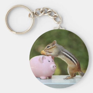 Cute Chipmunk with Funny Money Piggy Bank Picture Key Chains