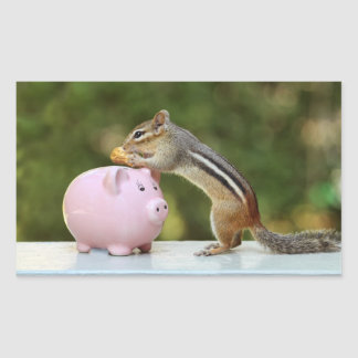 Cute Chipmunk with Funny Money Piggy Bank Picture Sticker