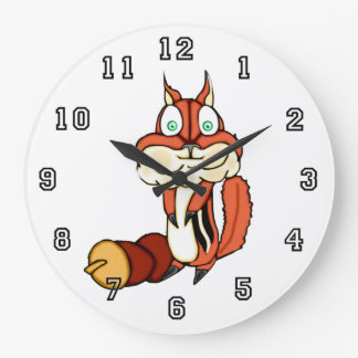 Cute Chipmunk With Nut Large Clock