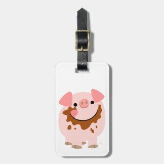 Cute Chocolate Cartoon Pig Luggage Tag