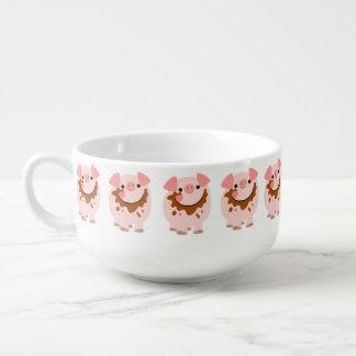 Cute Chocolate Cartoon Pig Soup Mug