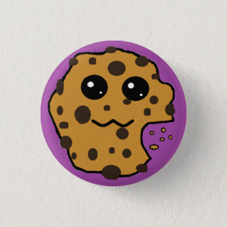 Cute chocolate chip cookie purple 1 inch round button